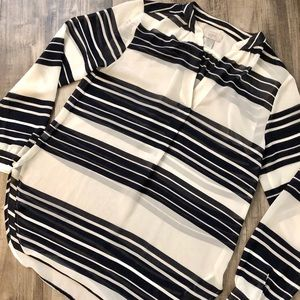 Loft Navy and White Striped Blouse